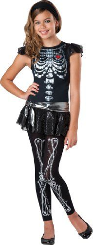 InCharacter Costumes Girls' Skeleton Bling, Silver/Black, Large