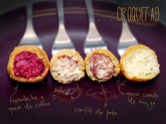 Croquetas variadas: salmón, queso de oveja, remolacha y confit de pato / Croquettes: salmon,  sheep's cheese, beetroot and duck confit.
