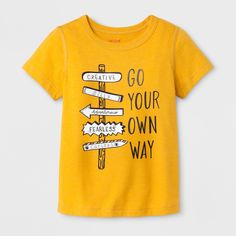 Boys Adaptive Short Sleeve Go Your Own Way Graphic T-Shirt Cat & Jack Mustard Yellow XS - Graphic Shirts - Ideas of Graphic Shirts - Boys' Adaptive Short Sleeve Go Your Own Way Graphic T-Shirt Cat & Jack Mustard Yellow XS T Shirts With Sayings, Cute Shirts, Funny Shirts, Funny Outfits, Trendy Outfits, Cute Outfits, Mellow Yellow, Mustard Yellow, T Shirt Citations