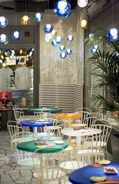 Tickets Barcelona: the elBulli brothers keep their carnival on the road at Tickets Tapas Bar Barcelona. Eclectic Restaurant, Restaurant New York, Restaurant Interior Design, Restaurant Interiors, Restaurant Ideas, Tapas Bar, Tickets Barcelona, Restaurants, Café Bar