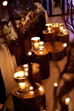 Tea lights on logs #winterwedding photo credits to Melissa Skoda, MCS Photography #Vancouverweddings