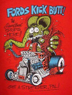 ラットフィンク Tシャツ 『FORDS KICK BUTT!:レッド』 / RatFink /Ed Roth エド・ロス