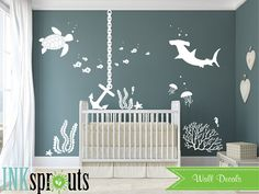 Under the sea Decal Anchor Nautical decal set Ocean by InkSprouts