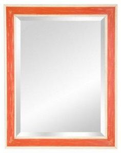 Bring an unexpected dose of vibrant orange to your vanity, bathroom, or bedroom with this beveled glass mirror with a distressed orange frame.