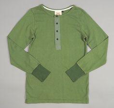 JUNGMAVEN: Long Sleeve Hemp / Cotton Blend Mountain Henley, Grass Green