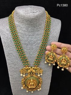 Exclusive Ruby Emerald Long Sets | Buy Online 1 gram jewellery | Elegant Fashion Wear