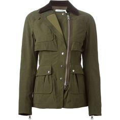 Altuzarra corduroy collar military jacket (£1,915) ❤ liked on Polyvore featuring outerwear, jackets, coats, coats & jackets, green, brown military jacket, green jacket, altuzarra, military jacket и green military jacket