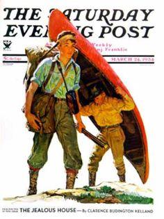 Saturday Evening Post - 1934-03-24: Canoe Portage (Eugene Iverd)