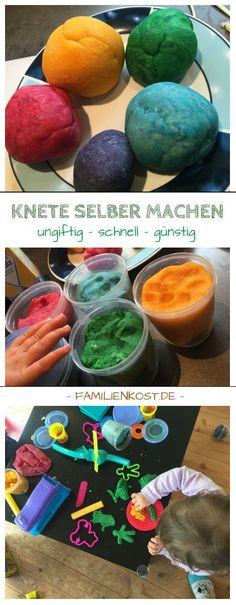 Ungiftige Knete selber machen ist günstig und sehr einfach. Mit diesem Rezept für bunte Knete habt ihr für eure Kinder immer einen Vorrat zu Hause: https://www.familienkost.de/knete_selber_machen.php