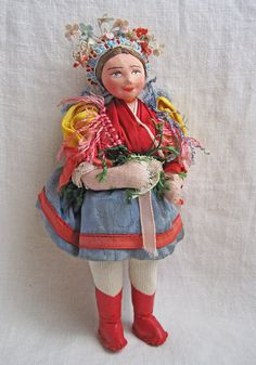 Hungarian Cloth Doll Folk Art Doll Hand Painted by CrayonGardens