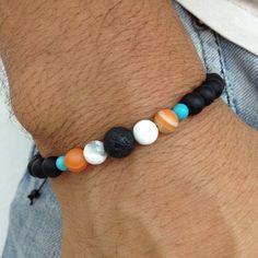Pulseira masculina pedras naturais ônix howlita lava vulcanica agatha laranja mens bracelets stones shamballas