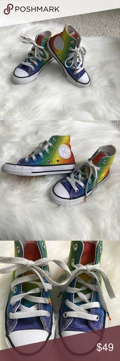 Chuck Taylor Converse kids Rainbow tennis shoes These are toddler girls size 10.5 chuck Taylor converse tennis shoes, unique rainbow design. RARE not many of these were made. Purchased at Nordstrom's. They are very gently used. Shown you in the pictures. In great shape. Smoke free. Little ones love these!! Converse Shoes Sneakers