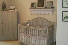 Rustic Baby Crib With Gray Closet And Beige Wall Paint Idea