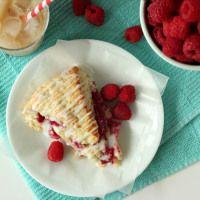 Raspberry Cream Scones with Rosewater Glaze