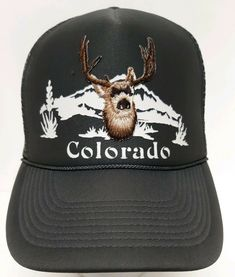 55932f17c73 Colorado Buck Deer Hunting Gray Snapback Cap Denver Hat Mountain Pikes Peak  Hike  Otto  BaseballCap