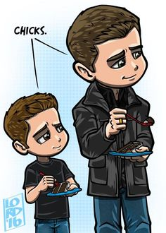 """The Kid"" Lord Mesa is starting to do SPN! Supernatural Cartoon, Supernatural Drawings, Lord Mesa Art, Really Cool Drawings, Harry Potter More, Johnlock, Funny Comics, Dc Comics, Supernatural"
