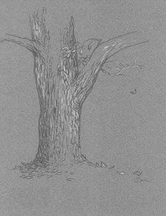 Original art Fall Tree pencil on toned paper 8 by DavidBarrowArt