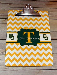 Baylor Chevron Personalized Clip Board // Such a great gift for a Baylor alum who's a teacher, coach, mother, etc.!