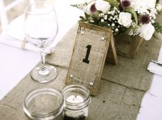 Rustic wood and burlap wedding table numbers. Rustic Wedding Showers, Rustic Wedding Backdrops, Deco Champetre, Wedding Hire, Felder, Wedding Table Numbers, Table Wedding, Deco Table, Wedding Videos