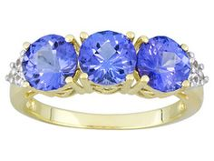 3.00ctw Round Stained Cut Tanzanite With .18ctw Round White Sapphire 10k Yg Ring