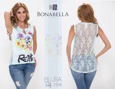 Un look casual, con un detalle de transparencia y encaje en la espalda para que te veas muy sexy. Para conocer el precio puedes ingresar en este link: http://bonabella.com.co/producto/blusa-21018-2/