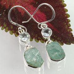 925 Sterling Silver Genuine BLUE TOPAZ & APATITE Gemstones Modern Style Earrings #SunriseJewellers #DropDangle