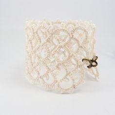 Bridal ivory lace cuff bracelet by Decoromana on Etsy, $79.90