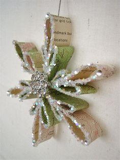Vintage Topography Map Snowflake Ornament   by JenniferAllison
