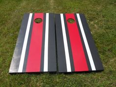 having striped cornhole boards will have people asking you where you got them these stylish bag toss sets will make you the life of the party - Cornhole Design Ideas