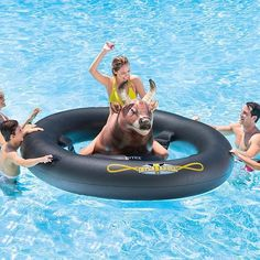 Have some serious pool fun! Giant Inflatable Bull Riding Ride On Pool Float Water Rodeo Inflatable Pool Toys, Giant Inflatable, Inflatable Island, Unicorn Inflatable, Pool Party Decorations, Bull Riding, Pool Floats, Lake Floats, Water Toys