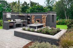 MODUL mur | Asak Miljøstein Outdoor Furniture Sets, Outdoor Decor, Outdoor Ideas, Backyard Patio Designs, Back Gardens, Beach House, New Homes, Pergola, Kitchen Ideas