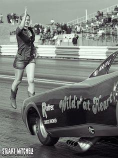 Girls vintage drag racing