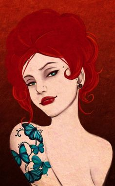 Butterfly lady III by ulush Cartoon Drawings, Cartoon Art, Cute Cartoon, Redhead Art, Red Hair Blue Eyes, Sketch 4, Red And Teal, Beauty Illustration, Creepy Art