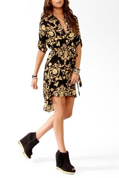 Cheap Thrills: Killer Forever 21 Dresses — All Under $35  Forever21 High-Low Scarf Print Shirtdress, $32.80