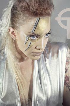David Bowie inspiration makeup photo and makeup by Marilena Noodle model Eva Tsachra