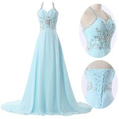 2016 Gorgeous Chiffon Halter Prom Dress   http://banquetgown.storenvy.com/products/16045914-2016-gorgeous-chiffon-halter-prom-dress-2016-a-line-corset-evening-dresses-w