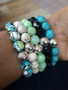 New Gemstone Beaded Bracelet Stack of Five by mSsDdesigns http://etsy.me/1BnYrvm via @Etsy #spring #armcandy #mSs #bracelets #etsy #handmade