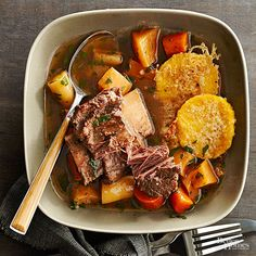 Short ribs make an amazing beef stew meat. As they cook, they become fall-off-the-bone tender yet remain super moist. Carrots, rutabagas, parsnips, and polenta make the slow cooker beef stew into a one-dish meal. Slow Cooker Ribs, Healthy Slow Cooker, Slow Cooker Soup, Slow Cooker Recipes, Beef Recipes, Recipies, Meatloaf Recipes, Quick Beef Stew, Best Beef Stew Recipe