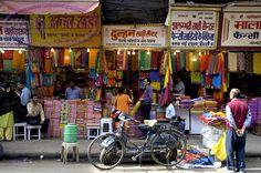 Colourful Saree Dress Shops In Chandni Chowk, Old Delhi