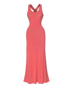 Take a look at this Red & White Cross-Back Scoop Neck Maxi Dress today!