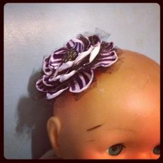 $4 - PURPLE WHITE and Black Zebra hair clip 229