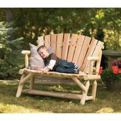 Cedar/fir Log Adirondack Love Seat, Model# T-24n340mb