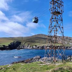 Dursey Island Cable Car on the Beara Way hiking trail in Ireland.