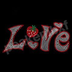 Bling Iron On Love Strawberry Rhinestone Transfers Heat Press For Clothes