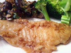 Sesame Ginger Baked Tilapia : UPDATE - I made this last night.. used 4 fillets of cod, and garnished with scallions. It makes a TON of the 'sauce', which is SUPER tasty, but I think next time I will half the sauce ingredients. YES, there will be a next time :)