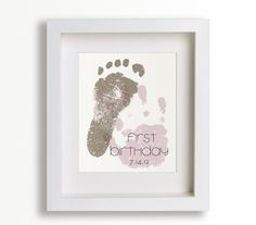 First Birthday Art Print - Personalized Hand and Foot Prints - 8x10 - Personalized Decor, Children Decor, Keepsake, Footprint, Handprint. $39.95, via Etsy.