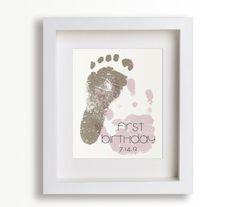 First Birthday Art Print - Personalized Hand and Foot Prints - 8x10 - Personalized Decor, Children Decor, Keepsake, Footprint, Handprint. $39.95, via Etsy.