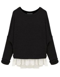 Black Batwing Long Sleeve Contrast Chiffon Knit Sweater - Sheinside.com