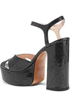 Marc Jacobs - Lust Glittered Leather Platform Sandals - Black - IT37