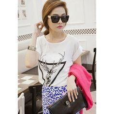 Plus Size Sika Deer Print Short Sleeve Chiffon Women's T-Shirt, WHITE, ONE SIZE in Tees & T-Shirts | DressLily.com